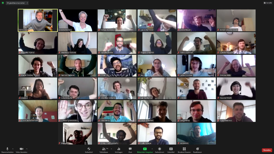 participants in a large video conference
